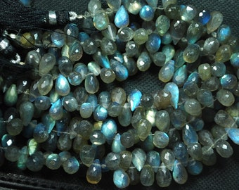 8 Inch Long Full Strand, Blue Flashy Labradorite Faceted Drops Shaped Briolettes, 7-9mm Long size