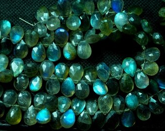 1/2 Strand, Blue Flashy Labradorite Faceted Pear Shaped Briolettes, 7x10mm Calibrated Size Long size