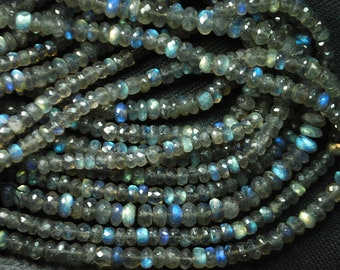 13.5 Inches Super Finest Natural BLUE FLASHY LABRADORITE Faceted Rondelles 3.5mm aprx