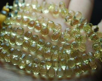 23 Beads,AAA Quality Natural Green Lemon Quartz Step Cut Faceted Drops Shape Briolettes, 8-9mm Long,Great Quality
