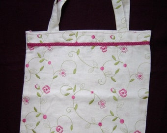 191 Little Pink Flower Embroidered Tote Bag
