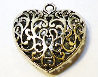 Large Brass or Tibetan Silver Filigree Heart