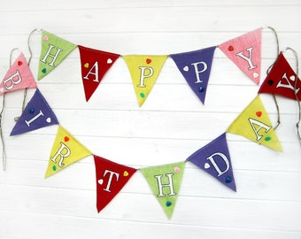 Primary Colors Happy Birthday Burlap Bunting Banner: Photo Prop, Mantle Decor, Wall Decor