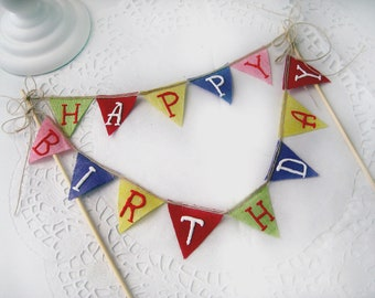 Happy Birthday pennant bunting Banner Cake Topper, dessert cupcake party customize wedding birthday congrats anniversary baby shower