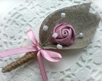 Set of 12-  Dusty pink Flower burlap Boutonniere (buttonhole)