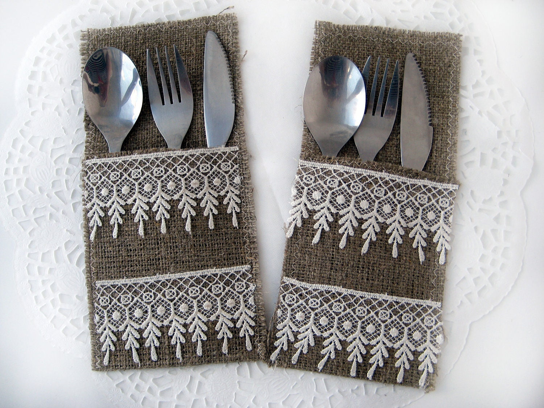 Set of 6 burlap silverware holders rustic table by brightbride - Handmade gs silverware ...