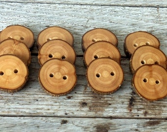 Wood Button - 12  Handmade Olive  tree branch buttons with the bark-1 inch diameter.For purses,knitting hats,crochet hats,handbags,pillows
