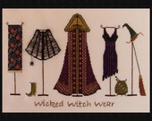"""Halloween Cross Stitch """"Wicked Witch Wear"""" Instant Download Pattern. Counted Embroidery Design. All Hallows Eve X Stitch October Autumn Fall"""