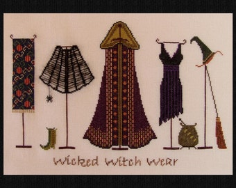 "Halloween Cross Stitch ""Wicked Witch Wear"" Instant Download Pattern. Counted Embroidery Design. All Hallows Eve X Stitch October Autumn Fall"