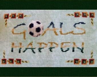 "Counted  Cross Stitch Instant Download Sports Pattern ""Goals Happen"". Inspirational Design. Soccer Futbol Football Ball. X Stitch."
