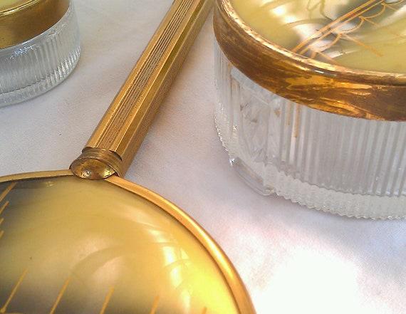 Vintage Vanity Set -Art Deco Hand Mirror and Gold Tone Dresser Jars Brass Handle
