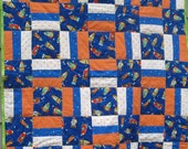 Blast Off Big Baby Quilt - Outerspace Bright Rockets