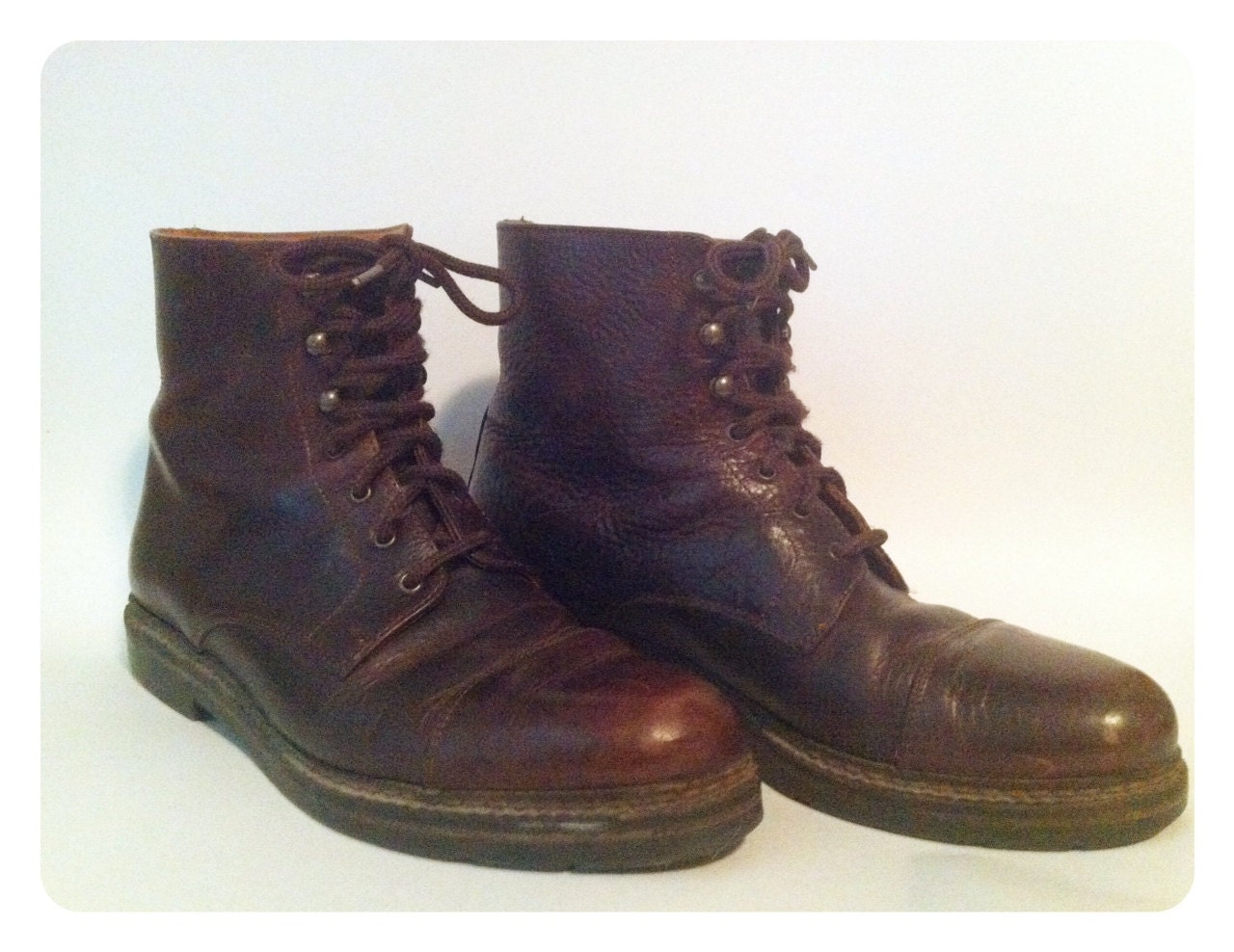 vintage brown leather work boots s size 8 5
