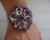 Crochet Pop Tab Pinwheel Flower Stretch Bracelet Cuff Plum Purple