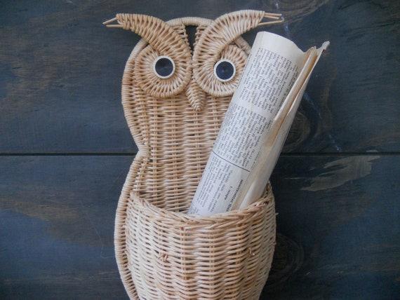 Vintage Owl wicker basket  Handmade mailbox Woven post holder Owl wall hanging Retro Owl home decor