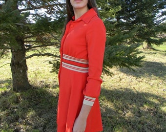Vintage 70's Tangerine  Polyester Dress M