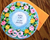 vintage cards ...  ROUND Thinking of You on your ANNIVERSARY CARD with envelope ...