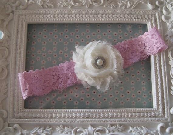Cream Shabby Chic Rosette Headband..Newborn Headband..Baby Girl Headband..Headband..Infant Headband..Baby Headband..Rosette Flower Headband