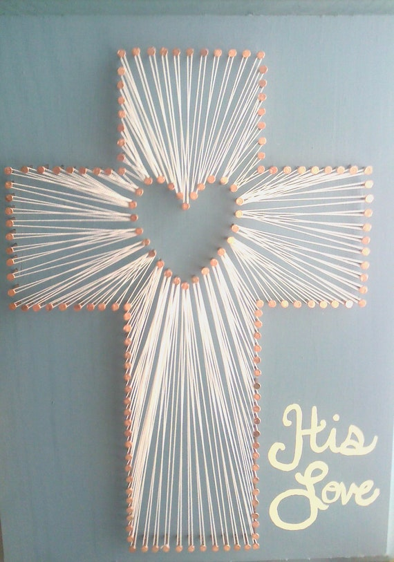 items similar to his love cross string art on etsy. Black Bedroom Furniture Sets. Home Design Ideas