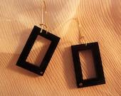 Elegant Black Perspex and Goldfield earrings