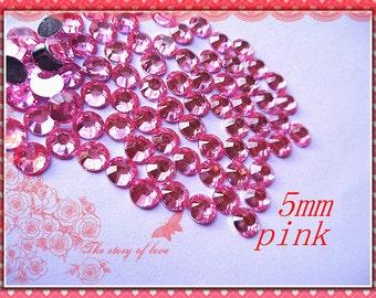 200pcs-  Pink  Rhinestone cabochons 5mm