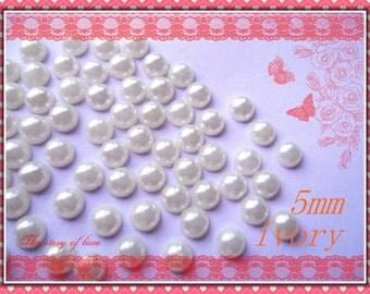 200pcs 5mm Ivory half pearl flatback deco cabochons