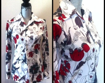 The Wild Field Top - 60s 70s Button Down Collar Shirt with Cranberry and Gray Floral Print, Size Small