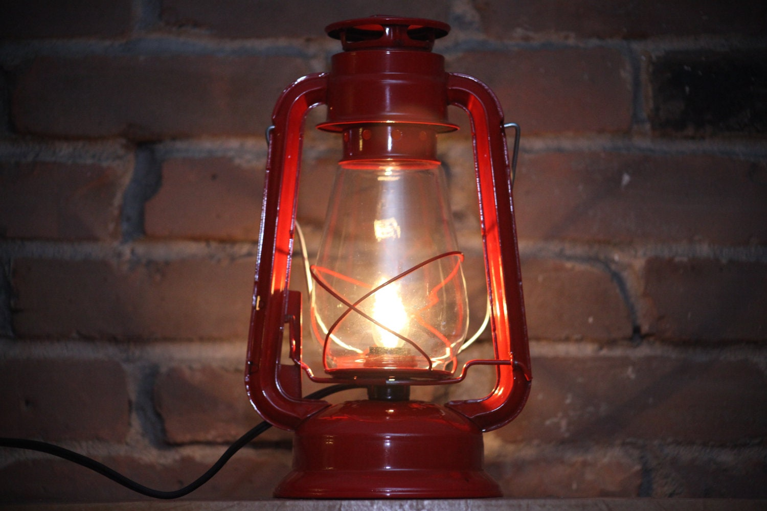 Hurricane Lantern Red With Clear Light Bulb Converted Kerosene