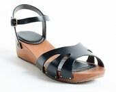 Handmade wedge sandal shoes 6 7 8 9 10 black