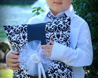 Black and white damask ring bearer pillow