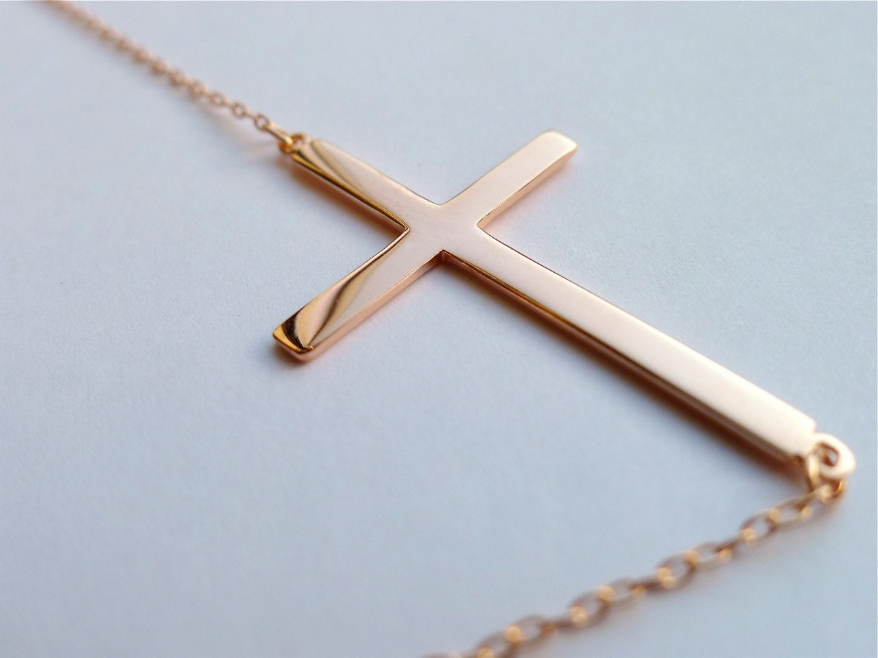 rose gold sideways cross necklace large horizontal cross. Black Bedroom Furniture Sets. Home Design Ideas
