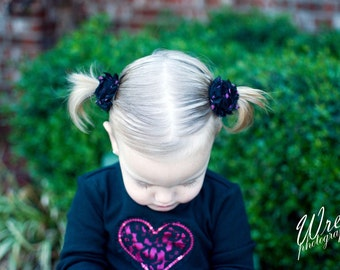 Shabby Pigtail Clips.Shabby Flower Ponytail Clips,Ponytail Holder.Pigtail Holder.No Slip Clip.Hair Ties.Elastic Hair Tie.Shabby Clip.Clips