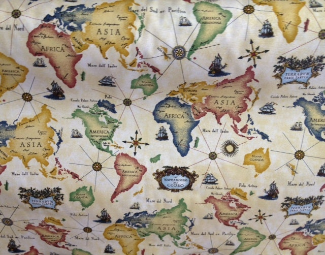 World map fabric by the yard for Fabric world