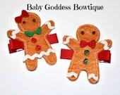 Girl's Christmas Hair Clips.. Gingerbread Boy Girl Hair Clips..Baby Christmas Hair Accessories..Gingerbread Girl Hair Pin
