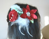 Red, white and grenn hair flower - Bridal fascinator - Fascinator lace - Bridal flower wedding hair accessory with beaded lace,feather comb