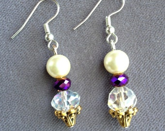 Pearl Earring with-Purple,White Crystal