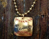 """Stamped Cardinal Baseball Pendant with 24"""" ball chain"""