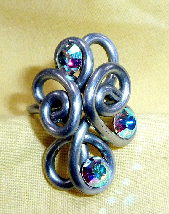 Swarovski Crystal and Aluminum Wire Swirl Ring