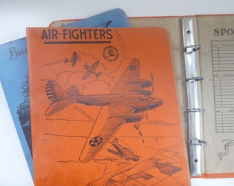 Vintage Loose Leaf Note Book -- AIR-FIGHTERS -- Military Binders in Red and Blue