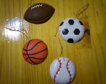 Sports Ornaments - Set of 4