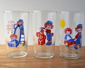 vintage Raggedy Ann and Andy drinking glasses - set of 3