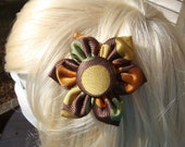 "Brown Silk ""Big Circles"" Hair Clip/Pin"