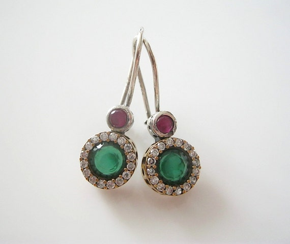 Antique Smaragd, Ruby, Sapphire earrings silver, gold antique jewelry