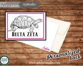 """25 Personalized Delta Zeta 5""""x7"""" Flat Notecards with Turtle No. 1"""