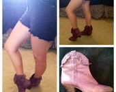 Vintage 9 West 100% Leather Purple Boots (free US shipping)