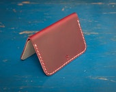 """Hand Stitched Horween Chromexcel """"Two Pocket Small Card Wallet"""" in red / natural leather"""