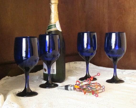 Vintage wine or water glassware cobalt blue