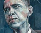 Portrait of Barack Obama - 8x10 Archival Art Print by Scott Laumann