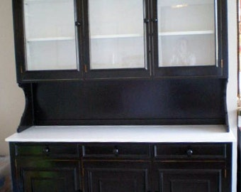 Kitchen Hutch cabinet upcycled black and white wooden modern style twist