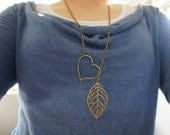 Heart and Leaf Bronze Necklace